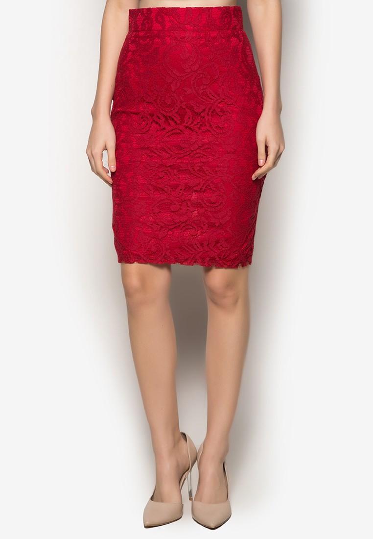 Lace Pencil Cut Skirt Zip Metal Back