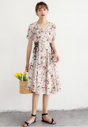 Shopsfashion white Lace Up Floral Printed Dress SH656AA91DAQSG_1