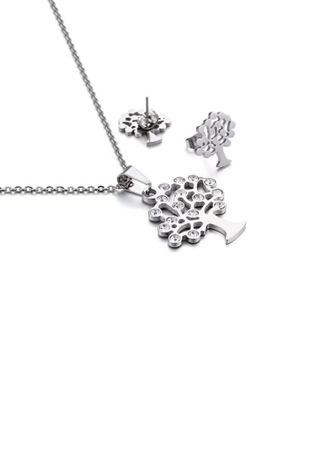 Glamorousky white Fashion and Simple Tree Of Life 316L Stainless Steel Necklace and Stud Earrings Set with Cubic Zirconia FF8A1ACB4A5839GS_1