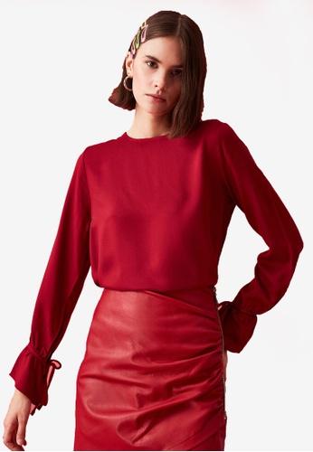 Trendyol red Ribbon Tie Sleeve Detail Blouse 94C8CAA1520113GS_1
