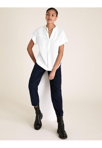 MARKS & SPENCER white M&S Pure Linen V-Neck Short Sleeve Blouse 25127AA494A588GS_1