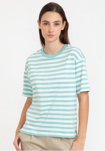 Bossini green Loose Fit Striped Tee B98B9AA9DD21DCGS_1
