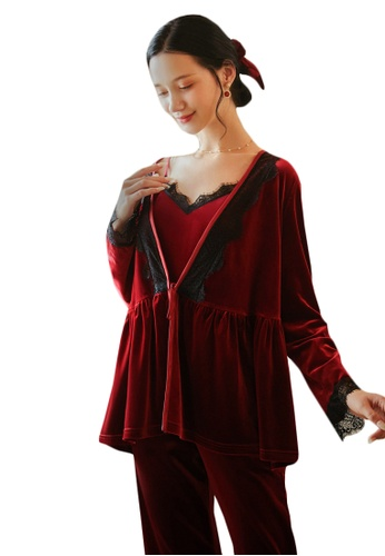 LYCKA red LML1288-Lady Casual Pajamas Three Pieces Set-Red E92C8AA33BA366GS_1