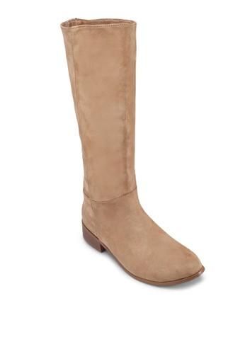 仿麂皮低跟高筒靴, 女鞋,zalora 包包 ptt 靴子
