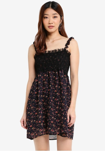Something Borrowed navy Ruffle Strap Smocked Dress 29332AA00C9059GS_1