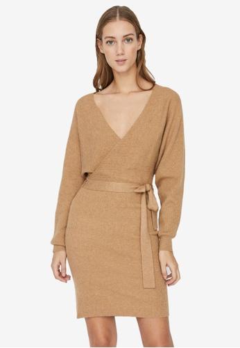Vero Moda brown Rem Long Sleeve V-Neck Dress A89EEAA75601F7GS_1