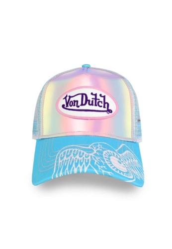 Von Dutch white and blue Von Dutch Hologram Trucker Cap 76011AC2F35C51GS_1