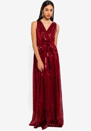 Goddiva red Sequined Chiffon Maxi Dress With Belt 005FFAAAA6F4E8GS_1