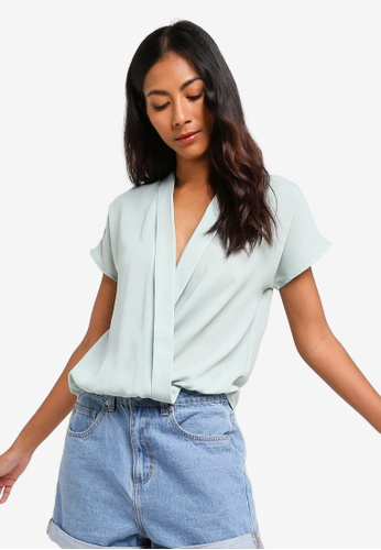 ZALORA BASICS green Basic Lapel Wrap Top 68F75AA80E37FCGS_1