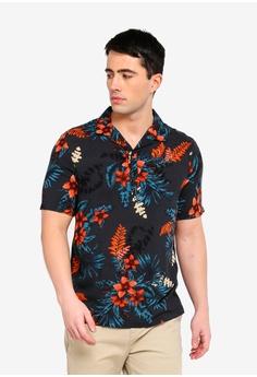 ae810f1980b4 River Island green Shirt Ss Floral Johnny Collar DCE96AA168673FGS 1