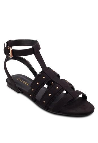 ZALORA Fringe Studded Flat Sandals