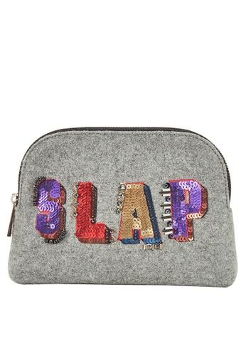My Flash Trash grey SLAP Velvet Cosmetic  Bag 4E284AC3EE7E0CGS_1