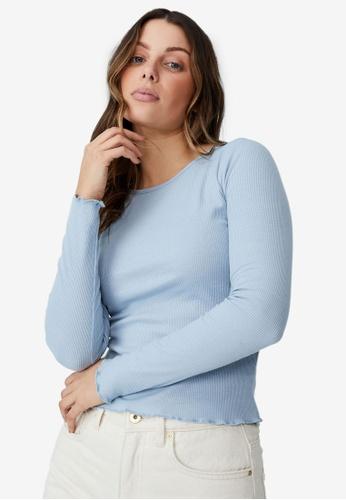Cotton On 藍色 羅紋 圓領長袖上衣 01BAEAAC70CF30GS_1