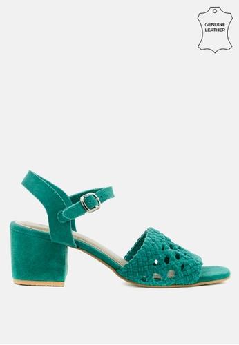 RAG & CO blue Braided Suede Block Heel Sandal 24A5ESH8AB0BCEGS_1