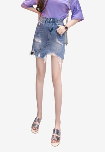 Lara blue Women Rips Stitch Sequins Denim Skirt With Asymmetric Hem AC2BCAA88C8A3DGS_1