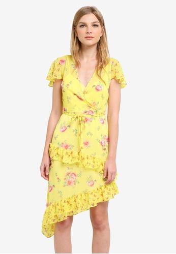 Miss Selfridge yellow Yellow Printed Wrap Dress MI665AA0S6FGMY_1