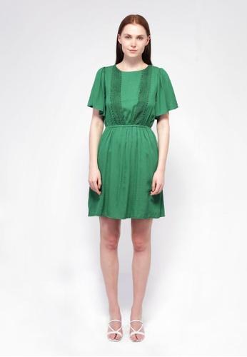 NE Double S green Ne Double S- Round Neckline Flare Short Sleeve Midi Dress BFE1DAA4C08BCCGS_1