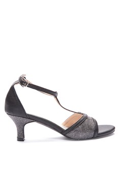 RHEA black t-strap 2-inch heeled party genuine leather-lined sandals