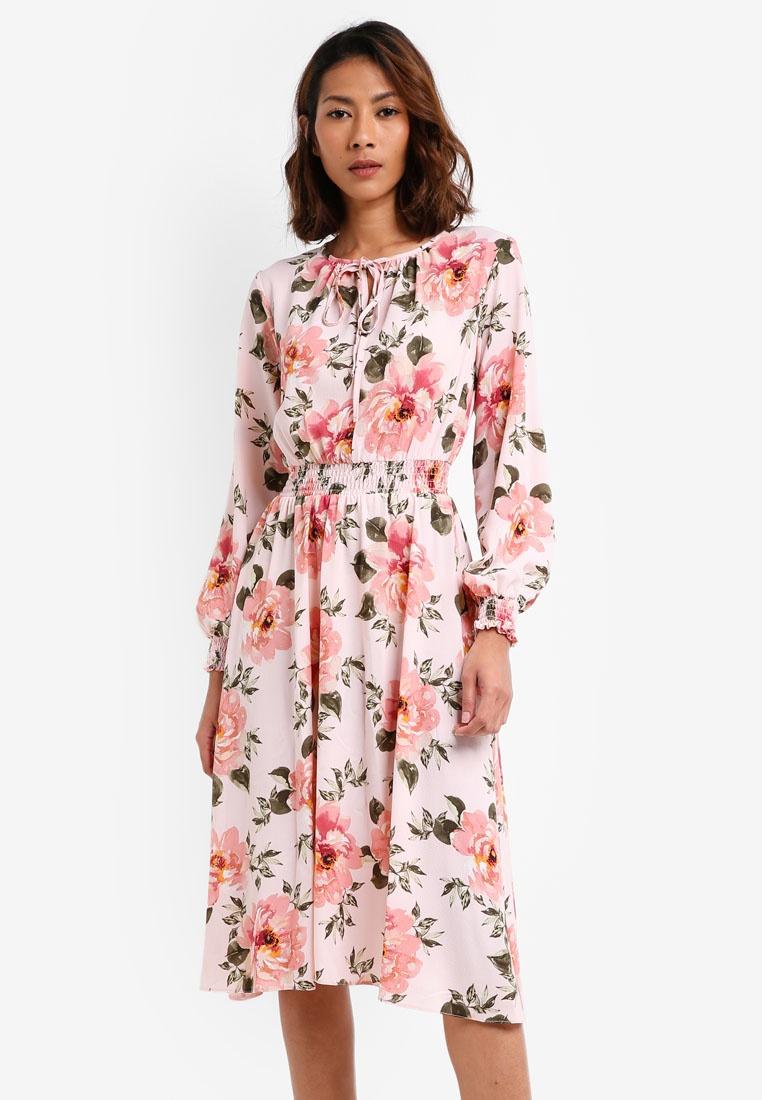 Floral Perkins Petite Midi Dress Blush Peach Dorothy SOqHTw