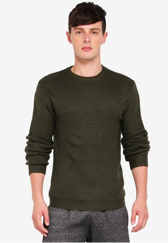Brave Soul green Rib Collar Knitwear 3BC03AA71D5740GS_1