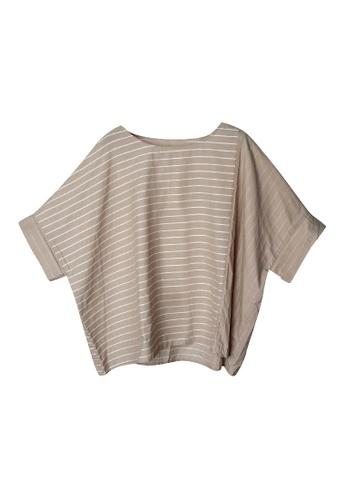 Giordano Ladies beige Oversized Stripe Blocking Boxy Top 425EEAA13A6EE9GS_1