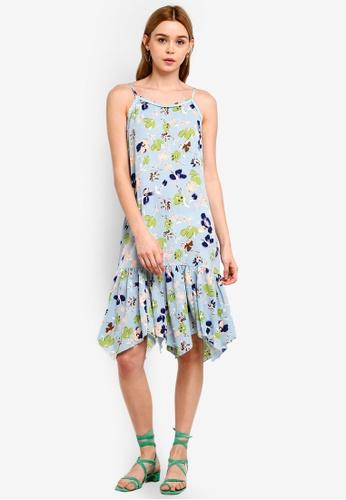 Something Borrowed 綠色 Drop Waist Frilled Cami Dress 1EBDCAAB744C4EGS_1