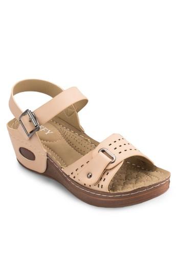 沖孔扣環楔esprit 香港型跟涼鞋, 女鞋, 鞋
