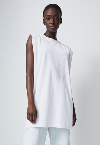 H&M white Sleeveless Jersey Dress 274FDAA177966BGS_1