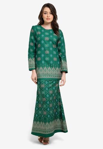 Butik Sireh Pinang green Zahira Short Cotton Modern Kurung with Songket Print BU003AA0SEY8MY_1