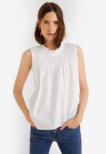 Mango white Ruched Detail Top EC187AA9B35FABGS_1