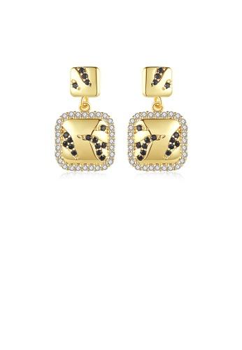 Glamorousky 白色 時尚優雅鍍金色幾何方塊耳環配鋯石 7BE67ACD49CEBAGS_1