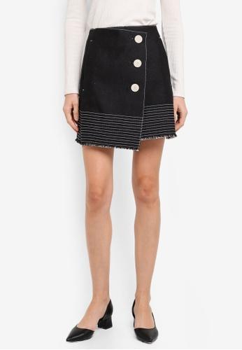 Mango black Contrast Seam Skirt MA193AA0T0YBMY_1