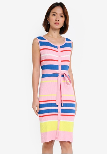NAIN pink and multi Multi Stripe Knit Dress 5097BAA002B36AGS_1