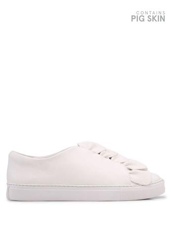 E8 by Miista 白色 荷葉飾皮革運動鞋 5908DSHE54407FGS_1