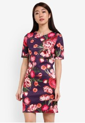 Dorothy Perkins purple and multi Floral Textured Bodycon Dress DO816AA0RSOMMY_1