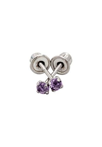 Piccolo Mio white Baby & Kids 14K Gold February Birthstone Earrings - Amethyst 38531KC12DF417GS_1