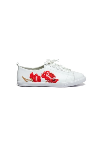 prettyFIT white Leather Sneakers With Red Embroidery Details 4A727SHC7475D1GS_1
