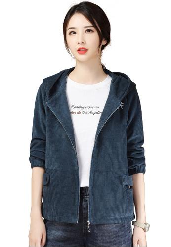 A-IN GIRLS 海軍藍色 時尚燈芯絨連帽外套 C7E15AA3BB0B1BGS_1