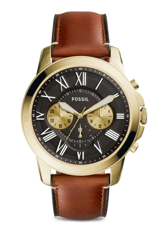 Fossil brown Fossil Grant Brown Leather Watch FS5297 FO164AC0RTFFMY_1