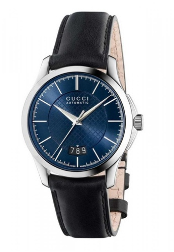 Gucci black and blue and silver GUCCI G-Timeless Automatic Blue Dial Black Leather Men's Watch 84E3BACA0073BDGS_1