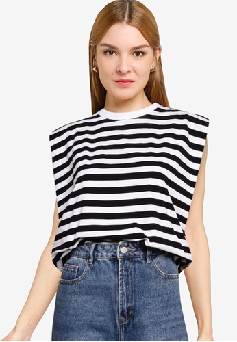 French Connection black and white SHOULDER PAD STRIPE JERSEY 3740BAA922F7AFGS_1