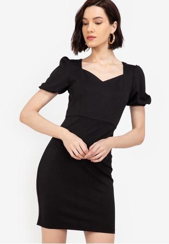 ZALORA WORK black Sweetheart Neckline Puff Sleeves Dress 7DEBDAA823C499GS_1