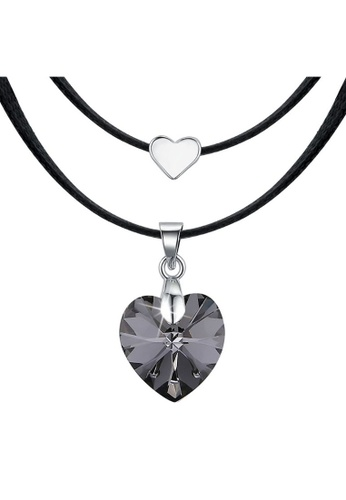 Krystal Couture 金色 KRYSTAL COUTURE Love To Silver Night Heart Necklace Embellished with Swarovski crystals 49D6FAC40C25EEGS_1