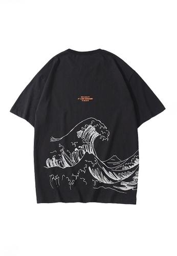 Twenty Eight Shoes black VANSA Unisex Personality Printed Short-sleeved T-Shirt VCU-T1027 85A1EAA7A711C6GS_1
