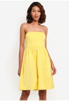 4f15591693c J.Crew yellow Dinner Strapless Dress Saehan Stretch Faille  62A58AAD09B925GS 1