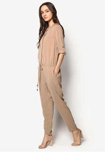 拉鍊開襟抽繩連身長褲、 服飾、 連身褲Zalia拉鍊開襟抽繩連身長褲最新折價