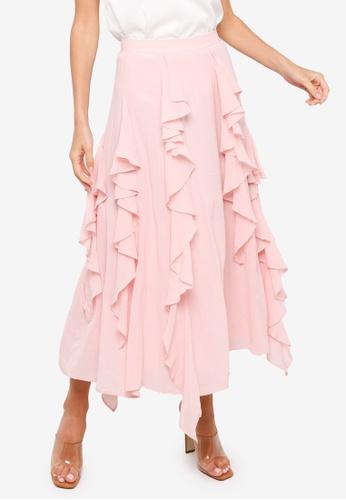 H&M pink Flounced Cotton-Blend Skirt F24E1AAE3E77F0GS_1
