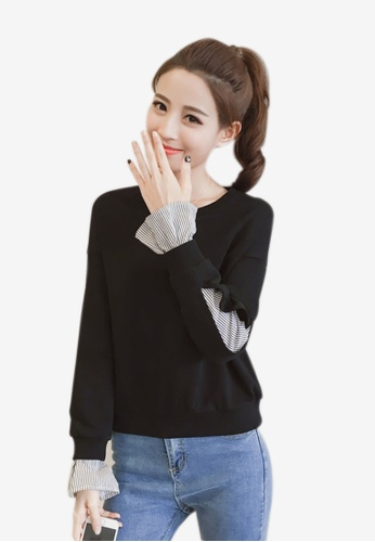 Lara black Fake two piece Round neckline Long sleeves Sweater B4045AA43C7320GS_1