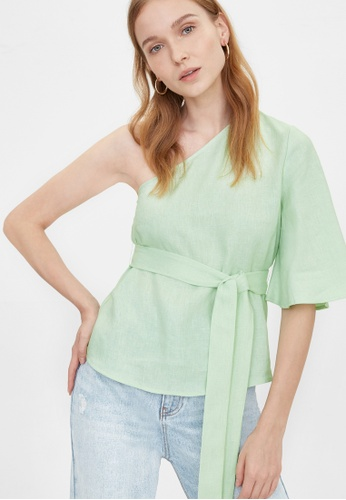 Pomelo green Purpose Flared One Shoulder Top - Green 6EBA6AA4259CE4GS_1
