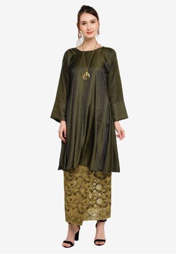 Yans Creation green Leyla Kurung Pahang Moden Songket 04A07AA2DCC665GS_1